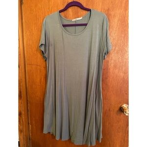 Green T-Shirt Dress with Pockets